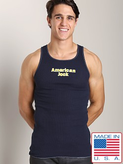 American Jock Logo Ribbed Tank Navy/Yellow