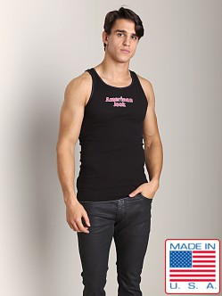 American Jock Logo Ribbed Tank Black/Red