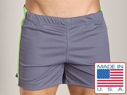 American Jock Workout Short with Built-In Jock Charcoal/Lime