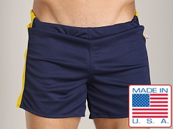 American Jock Workout Short with Built-In Jock Navy/Yellow
