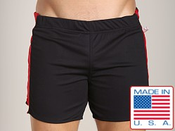 American Jock Workout Short with Built-In Jock Black/Red