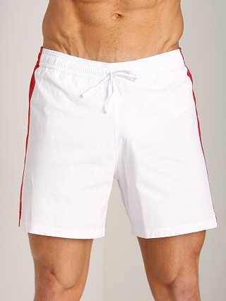 Model in white/rosso/blue GrigioPerla Nero Perla Mykonos Colorblock Shorts White