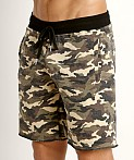 St33le Vintage Wash Fleece Raw Edge Shorts Green Camo, view 3