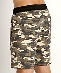 St33le Vintage Wash Fleece Raw Edge Shorts Green Camo, view 4