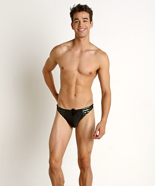Gregg Homme Reflector Swim Thong Black