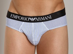 Emporio Armani Striped Hip Brief White/Blue
