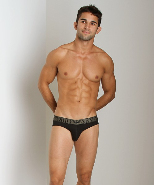 Emporio Armani Stretch Cotton Hip Brief Black