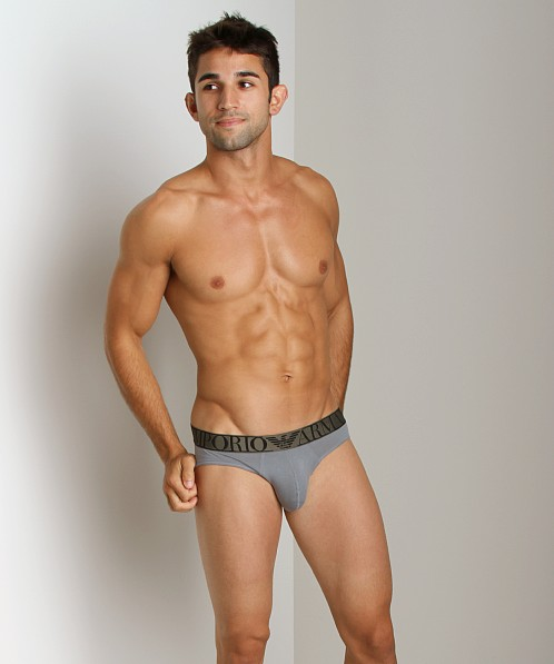Emporio Armani Stretch Cotton Hip Brief Smoke Grey