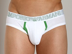 Emporio Armani Contrast Faux-Fly Hip Brief White