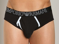 Emporio Armani Contrast Faux-Fly Hip Brief Black