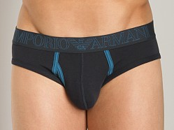 Emporio Armani Contrast Faux-Fly Hip Brief Marine