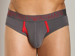 Emporio Armani Contrast Faux-Fly Hip Brief Asphalt Grey
