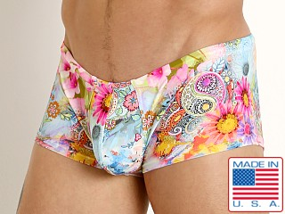 Model in daisy paisley Rick Majors Low Rise Swim Trunk