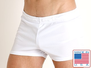 Model in white LASC Zip Pocket Short