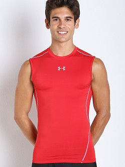 Under Armour Heatgear Sleeveless Compression Tee Red/Steel
