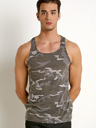 St33le Vintage Wash Distressed Tank Top Grey Camo
