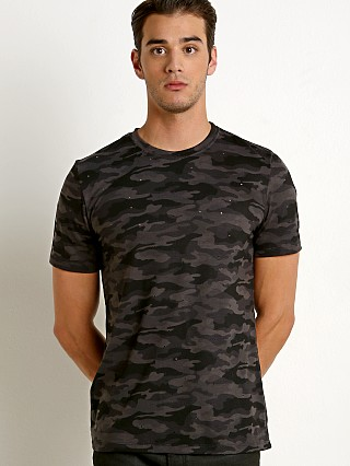 St33le Vintage Wash Distressed Tee Black Camo