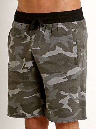 St33le Vintage Wash Fleece Raw Edge Shorts Grey Camo