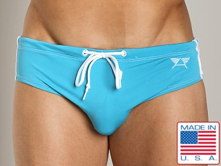LASC Aussie Style Striped Drawstring Swim Brief Turquoise