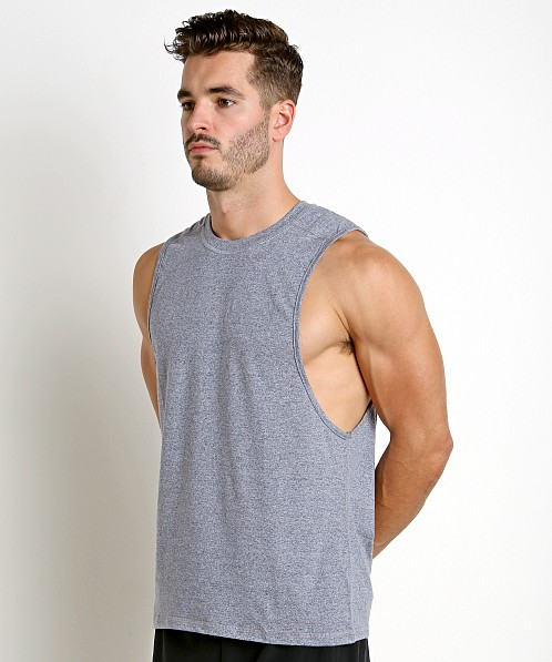 St33le Performance Heathered Low Armhole Muscle Tank Navy
