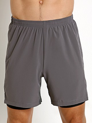 Model in grey St33le 2-in-1 Athletic Shorts
