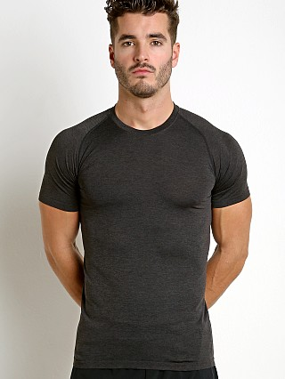 Model in black St33le Seamless Performance Short Sleeve Crew