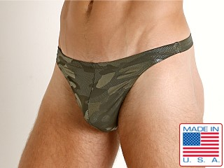 Model in green camo LASC Brazil Swim Thong