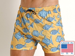 LASC Parachute Poly Swim Boxer Blue Fish