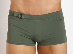 Parke and Ronen Ibiza D-Buckle Square Cut Solid Olive Green