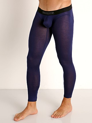 Model in navy McKillop Max Bulge Modal Long Johns