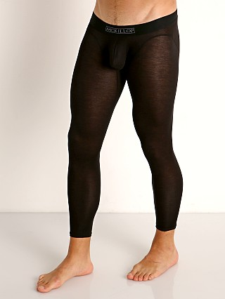 Model in black McKillop Max Bulge Modal Long Johns