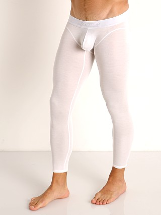 Model in white McKillop Max Bulge Modal Long Johns