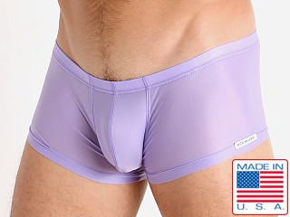 Model in lilac Rick Majors Slinky Trunk