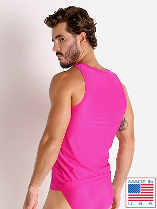 Model in fuchsia Rick Majors Slinky Classic Tank Top