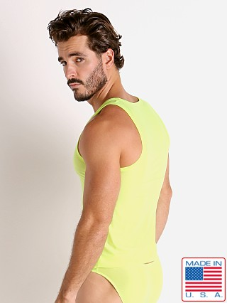 Model in lemon lime Rick Majors Slinky Classic Tank Top