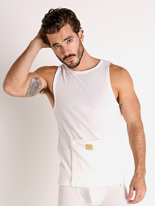 Model in off-white Modus Vivendi Smooth Knit Tank Top White
