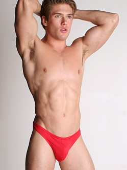 LASC Men's Lycra Swim Thong Red
