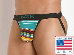 N2N Bodywear California Dreamin' Jock Green Stripes