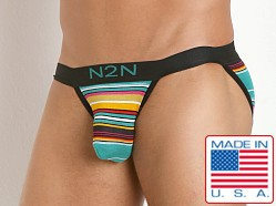 N2N Bodywear California Dreamin' Sports Brief Green Stripes
