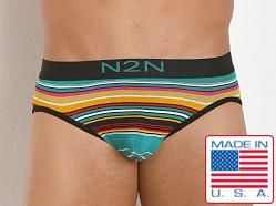 N2N Bodywear California Dreamin' Brief Green Stripes