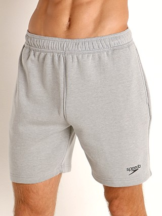 Model in heather Speedo Fleece Workout Shorts