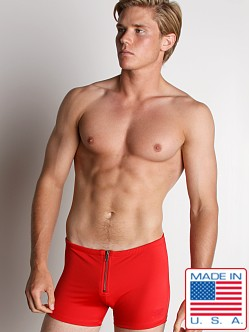 LASC Zip Front Swim Trunk Red
