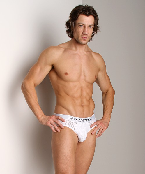 Emporio Armani Cool Mesh Brief White