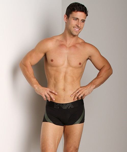 Emporio Armani Seven Stripes Stretch Cotton Trunk Black
