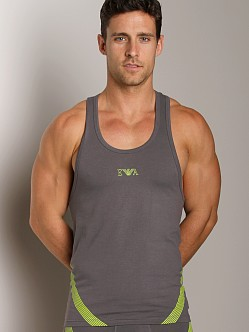 Emporio Armani Seven Stripes Stretch Cotton Tank Top Asphalt Gre