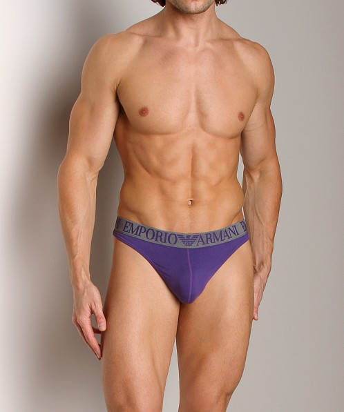 Emporio Armani Coloured Stretch Cotton Thong Violet