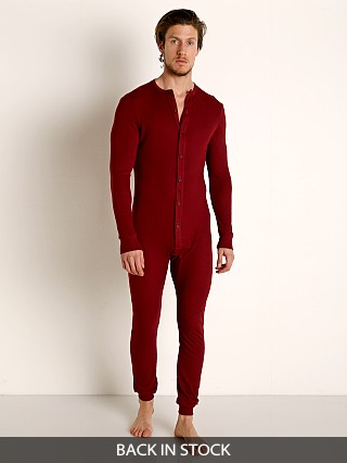 Model in burgundy Rick Majors American Classic Back Flap Union Suit