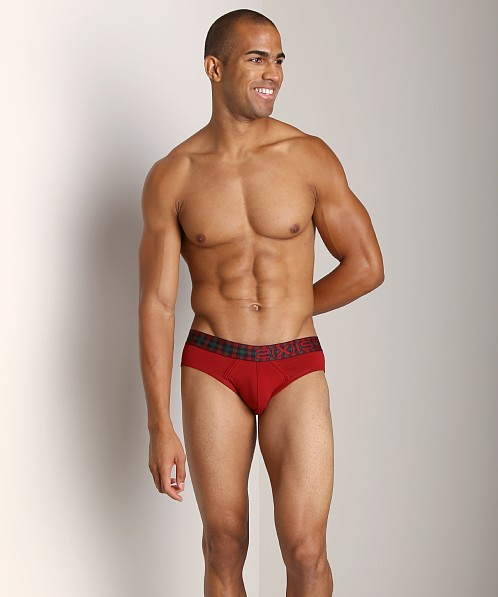 2xist Tartan No-Show Brief Red Dahlia