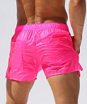 Rufskin Nuage Transparent Nylon Pocket Shorts Neon Pink AF, view 4