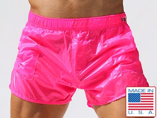 Model in neon pink af Rufskin Nuage Transparent Nylon Pocket Shorts